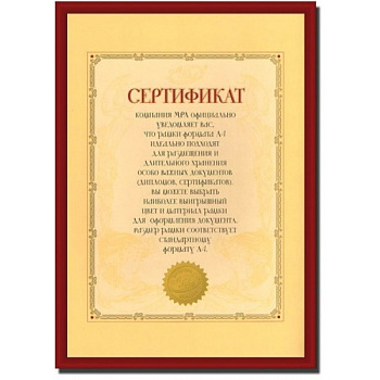 21x30 (A4) 6609-A4 Certificate бордо (арт.5-21676)